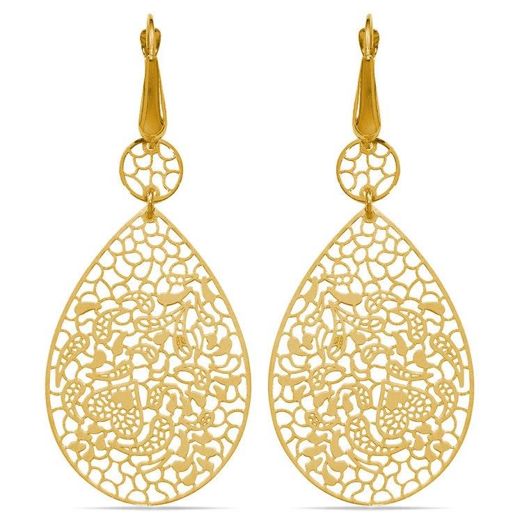 Heart & Leaf Filigree Dangle Earrings in Yellow Gold | 01