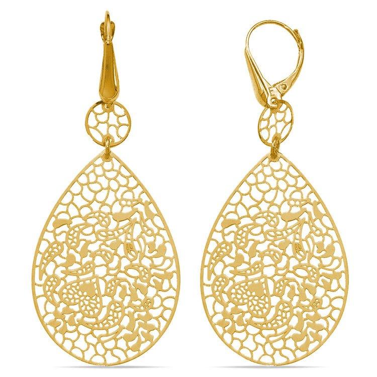 Heart & Leaf Filigree Dangle Earrings in Yellow Gold | 02