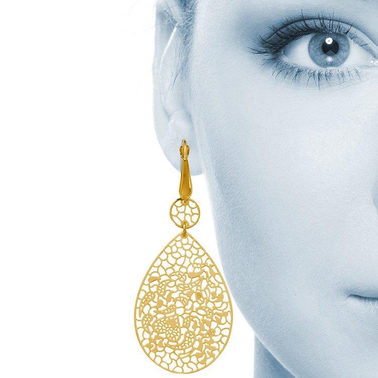 Heart & Leaf Filigree Dangle Earrings in Yellow Gold | 04