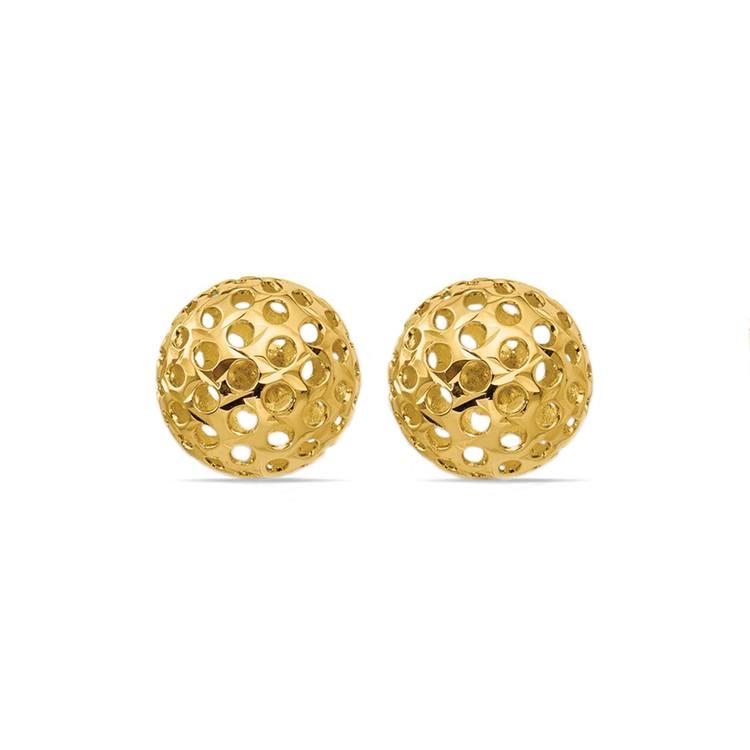 Hollow Bead Earrings in Yellow Gold   01
