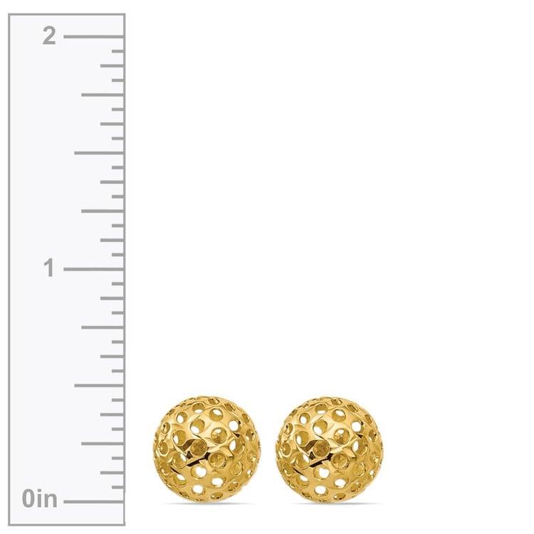Hollow Bead Earrings in Yellow Gold   02