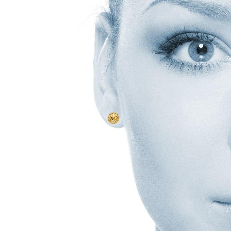 Hollow Bead Earrings in Yellow Gold   03