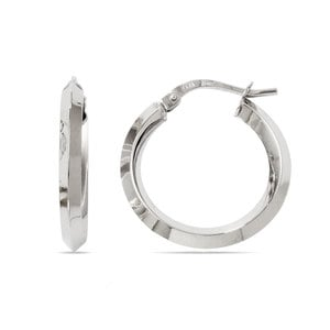 Knife Edge Hoop Earrings in White Gold (20 mm)