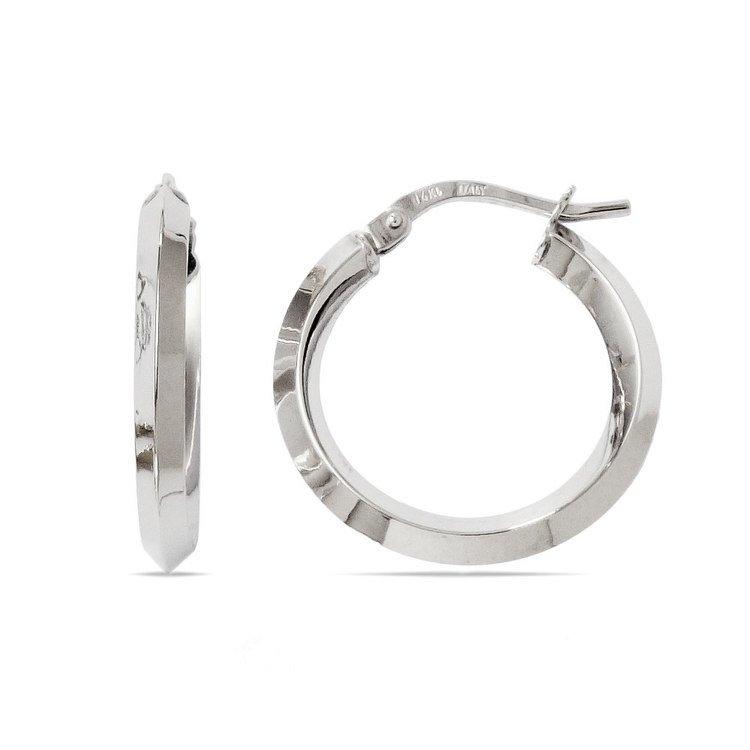Knife Edge Hoop Earrings in White Gold (20 mm)   01