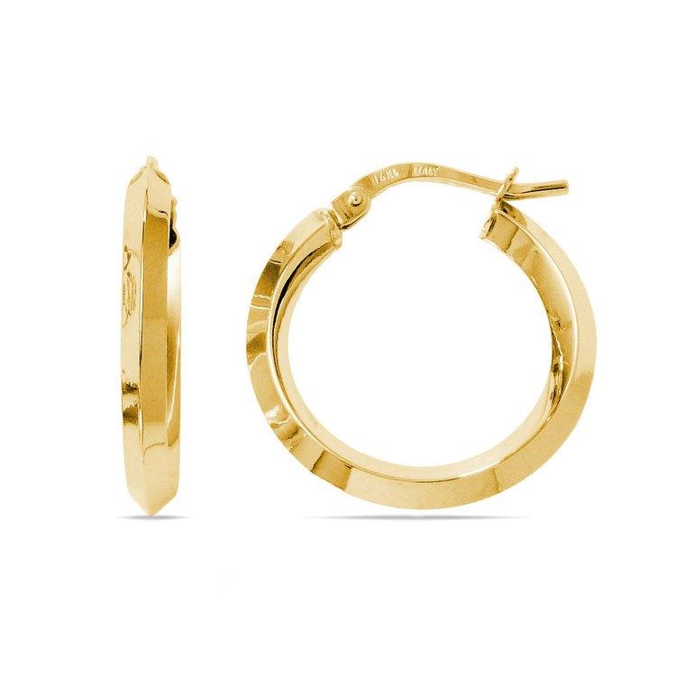 Knife Edge Hoop Earrings in Yellow Gold (20 mm) | 01