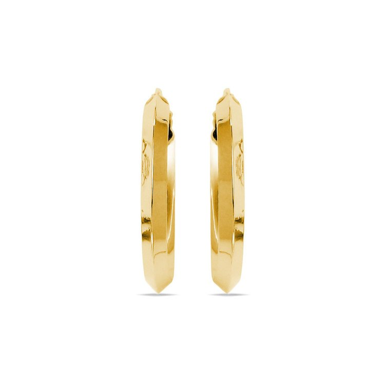 Knife Edge Hoop Earrings in Yellow Gold (20 mm) | 02