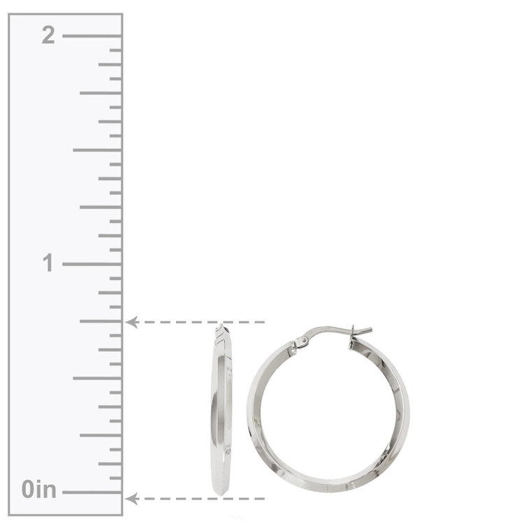 Knife Edge Hoop Earrings in White Gold (31 mm) | 03