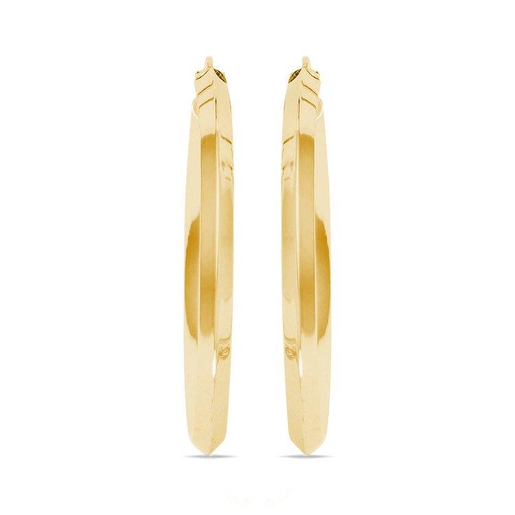 Knife Edge Hoop Earrings in Yellow Gold (31 mm) | 02