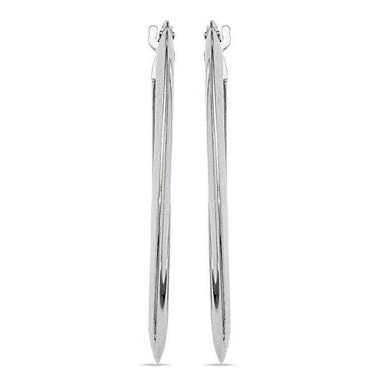Knife Edge Oval Hoop Earrings in Silver | 02