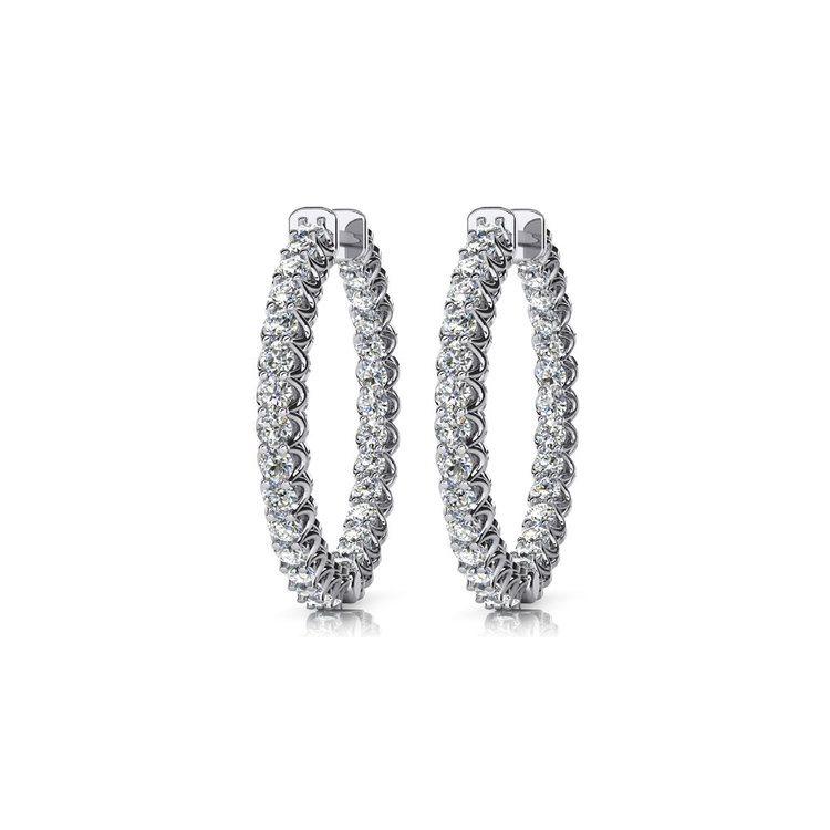Diamond U-Prong Hoop Earrings in White Gold (1 ctw) | 01