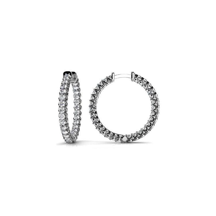 Diamond U-Prong Hoop Earrings in White Gold (1 ctw) | 02