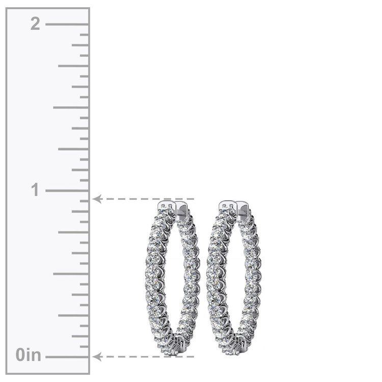 Diamond U-Prong Hoop Earrings in White Gold (1 ctw) | 03