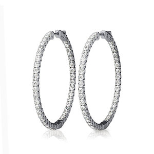 Diamond Hoop Earrings in White Gold (1 ctw)