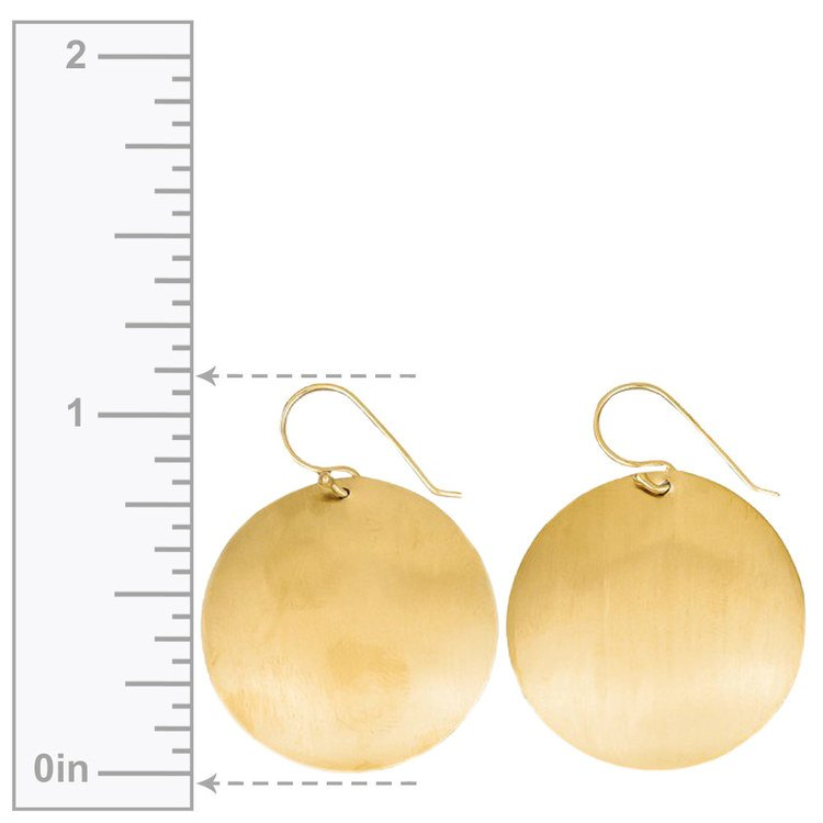 Large Satin Round Disc Earrings in Yellow Gold | 02