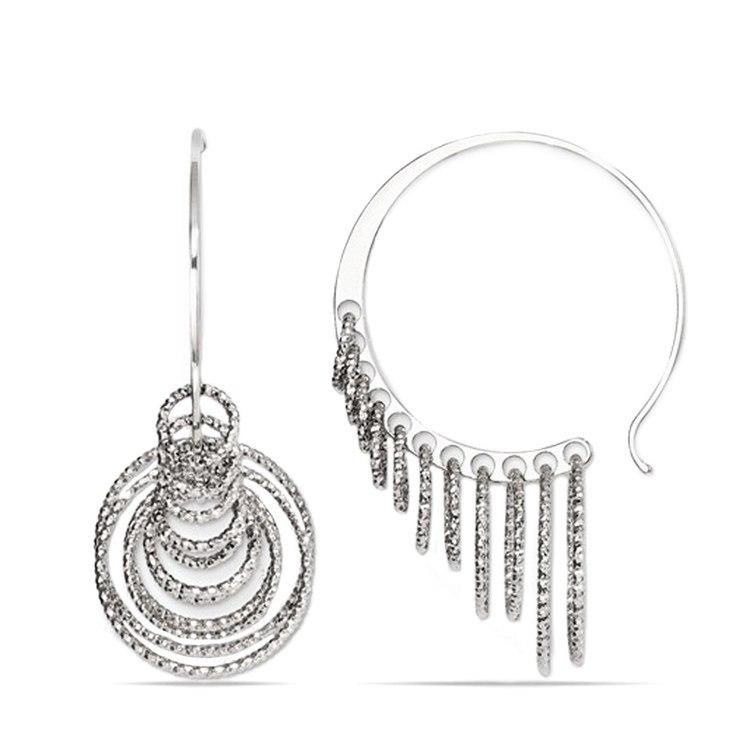 Laser Cut Multi-Ring C-Hoop Earrings in Silver | 01