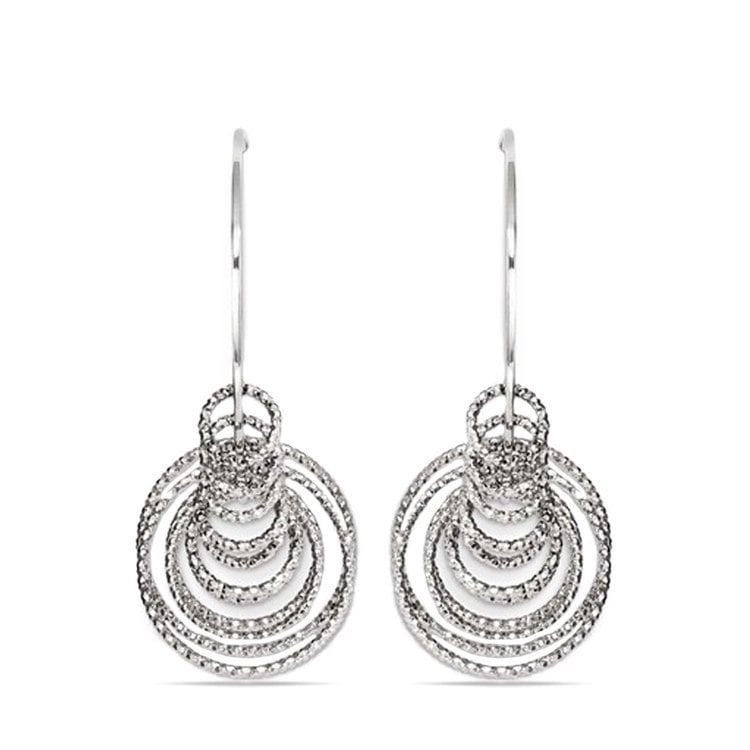 Laser Cut Multi-Ring C-Hoop Earrings in Silver | 02