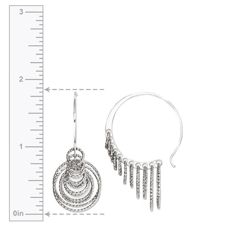 Laser Cut Multi-Ring C-Hoop Earrings in Silver | 03