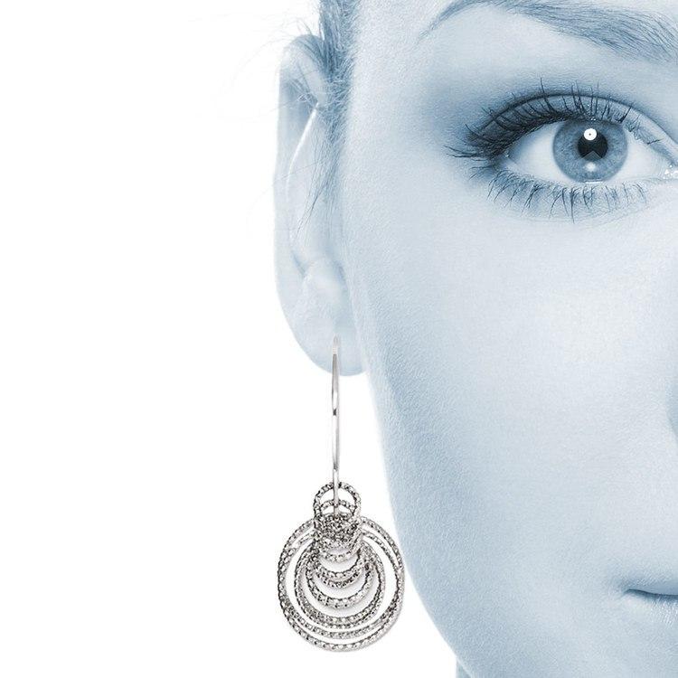 Laser Cut Multi-Ring C-Hoop Earrings in Silver | 04