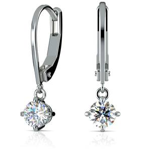 Leverback Earrings with Dangle Settings in Platinum