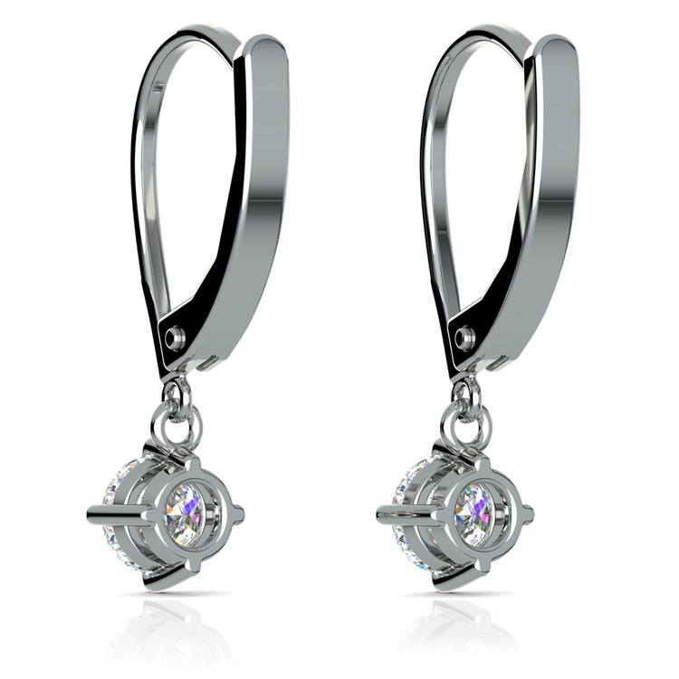 Leverback Earrings with Dangle Settings in White Gold | 02