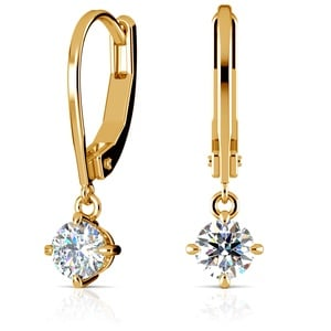 Leverback Earrings with Dangle Settings in Yellow Gold