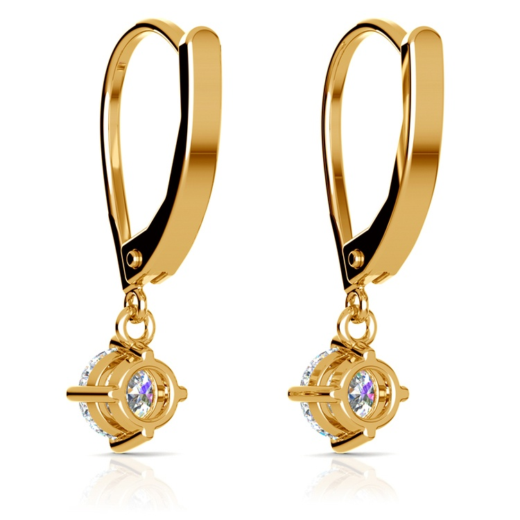 Leverback Earrings with Dangle Settings in Yellow Gold | 02