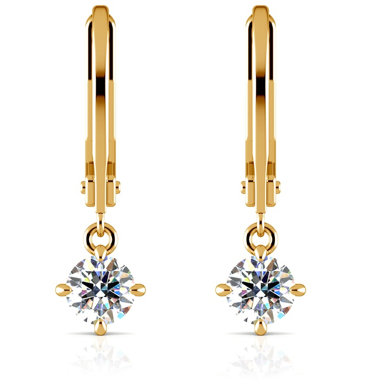 Leverback Earrings with Dangle Settings in Yellow Gold | 04