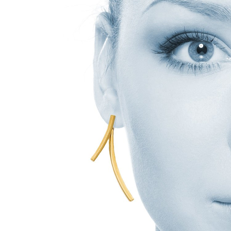 Linear Modern Front and Back Stud Earrings in Yellow Gold | 04