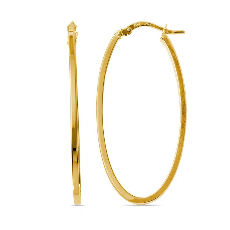 Long Oval Hoop Earrings in Yellow Gold | 01