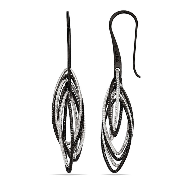 Marquise Drop Dangle Earrings with Blackened Finish in Silver | 02