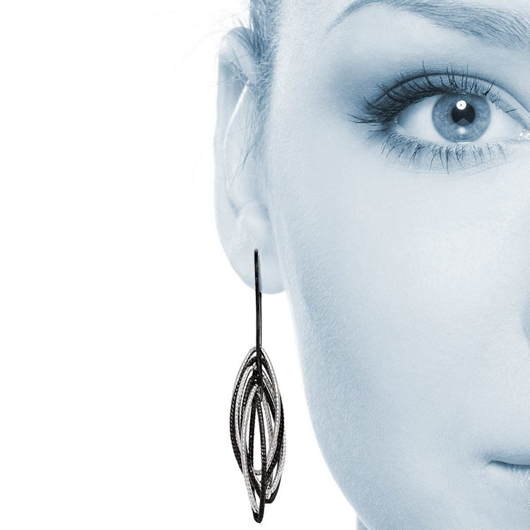 Marquise Drop Dangle Earrings with Blackened Finish in Silver | 04