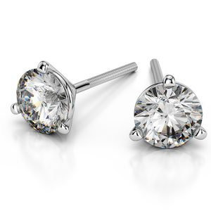 Martini Three Prong Earring Settings in White Gold