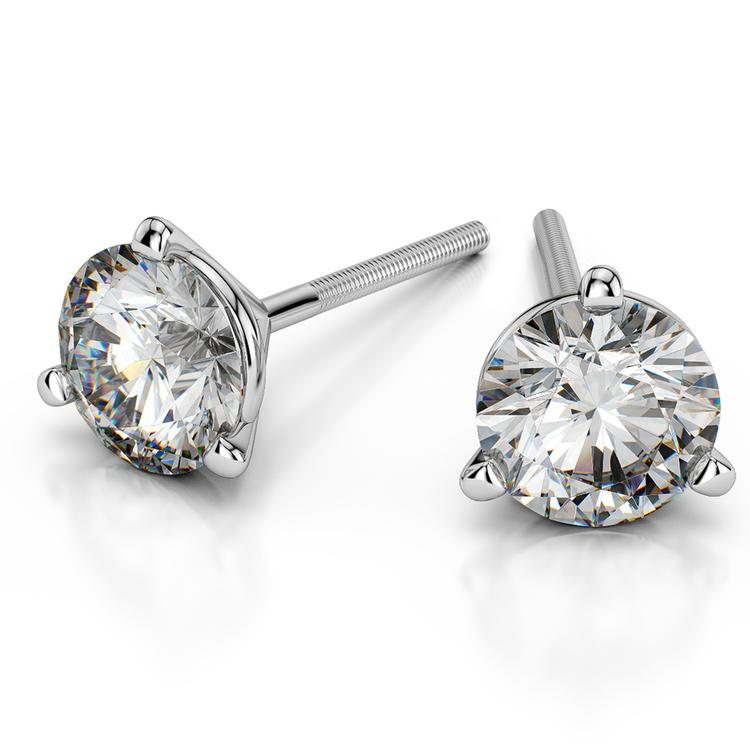 Martini Three Prong Earring Settings in White Gold | 01