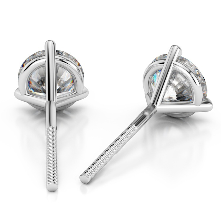 Martini Three Prong Earring Settings in White Gold | 02