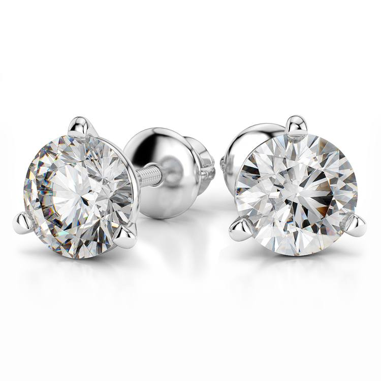 Martini Three Prong Earring Settings in White Gold | 04