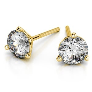 Martini Three Prong Earring Settings in Yellow Gold