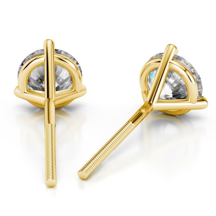 Martini Three Prong Earring Settings in Yellow Gold | 02