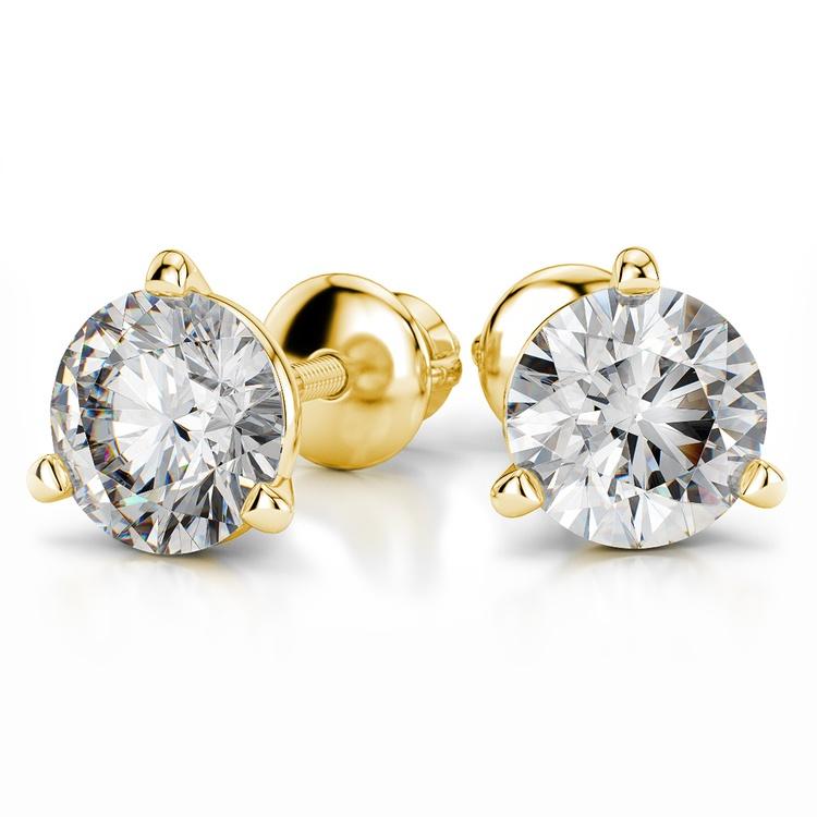 Martini Three Prong Earring Settings in Yellow Gold | 04