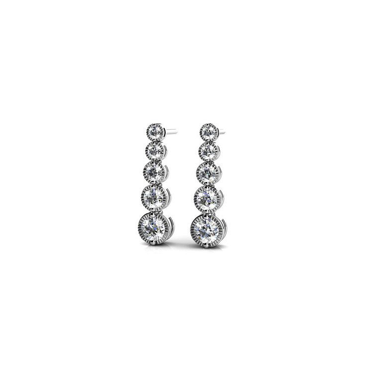Milgrain Diamond Drop Earrings in White Gold | 01