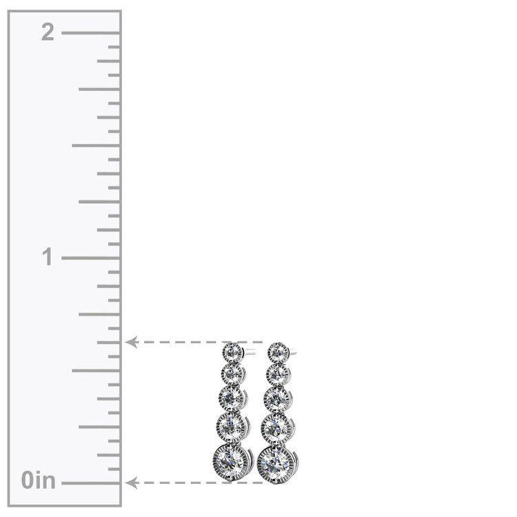 Milgrain Diamond Drop Earrings in White Gold | 02