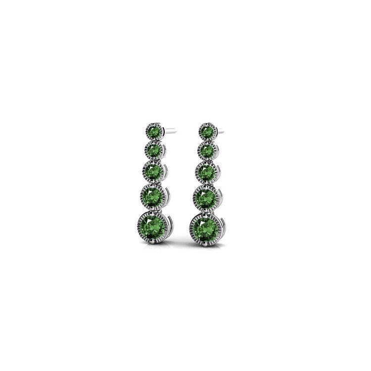Milgrain Emerald Drop Earrings in White Gold | 01