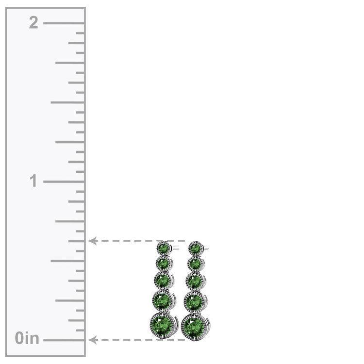 Milgrain Emerald Drop Earrings in White Gold | 02