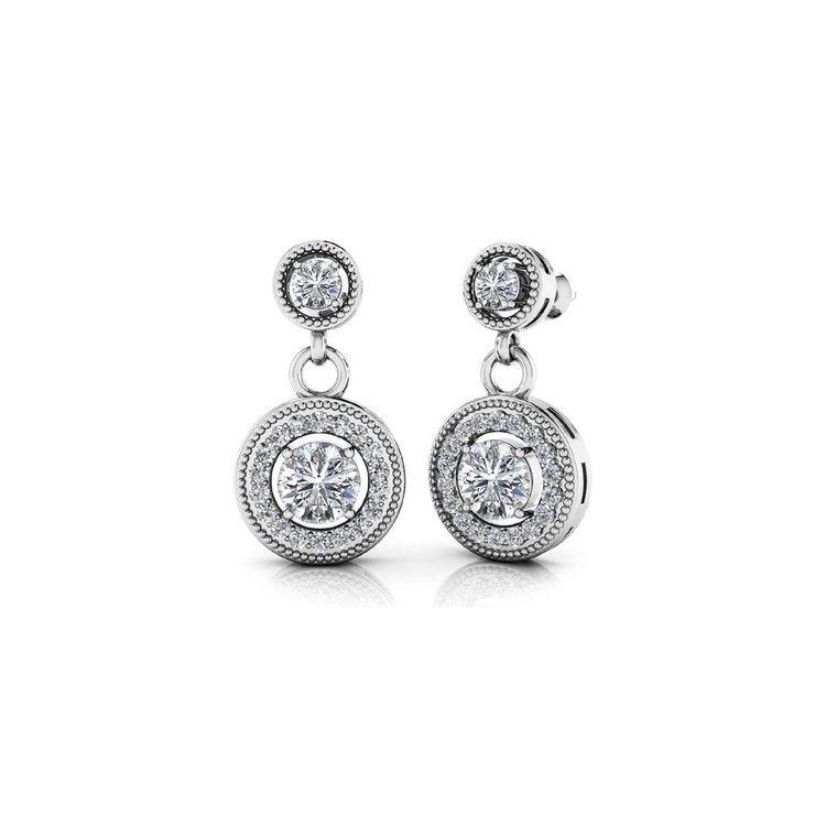 Milgrain Halo Dangle Diamond Earrings in White Gold | 01