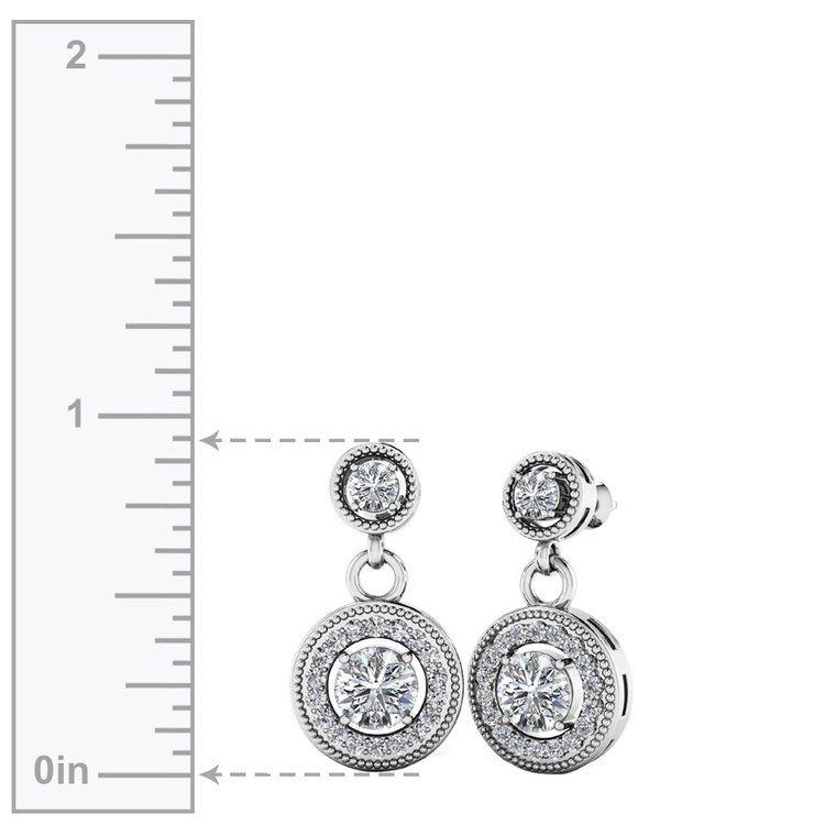Milgrain Halo Dangle Diamond Earrings in White Gold | 02