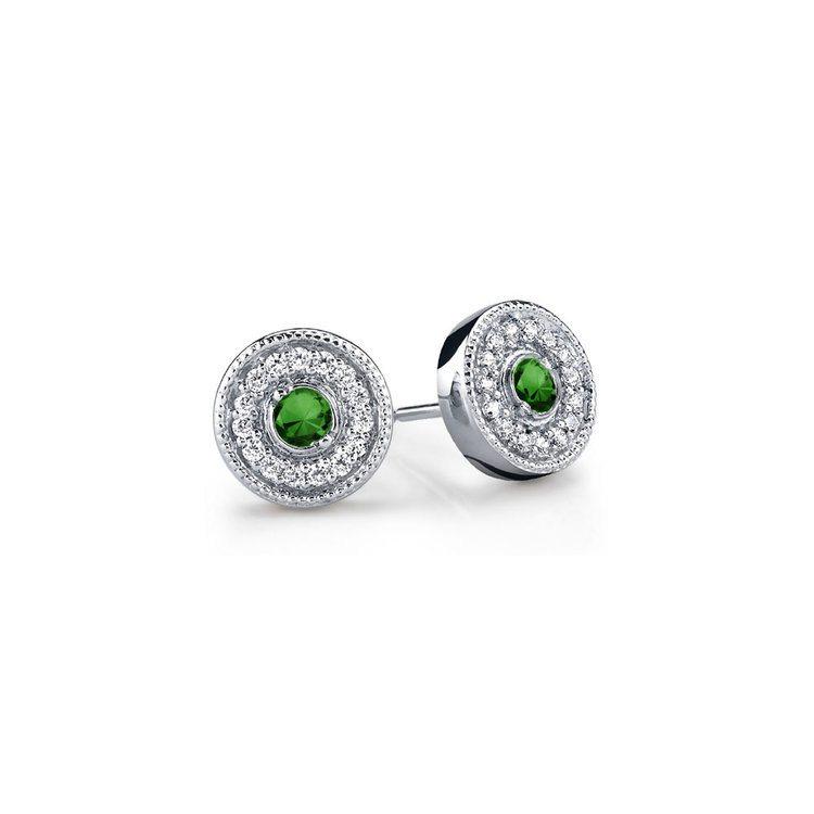 Halo Milgrain Diamond & Emerald Earrings in White Gold | 01