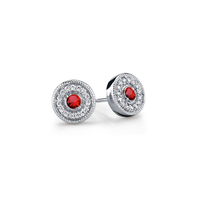 Halo Milgrain Diamond & Ruby Earrings in White Gold | 01