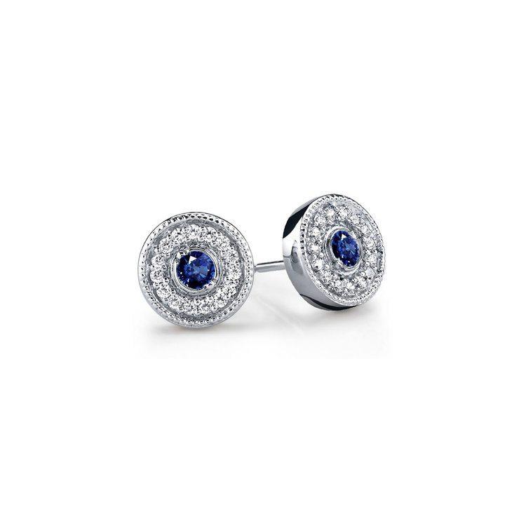 Milgrain Halo Diamond & Sapphire Earrings in White Gold | 01