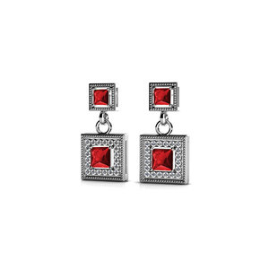 Milgrain Halo Ruby Earrings in White Gold