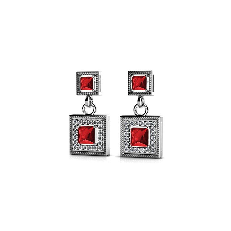 Milgrain Halo Ruby Earrings in White Gold | 01