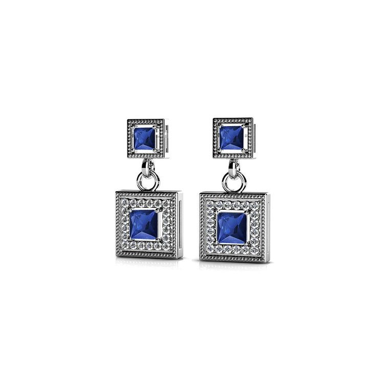 Milgrain Halo Sapphire Earrings in White Gold | 01